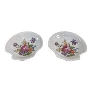 Hand Painted Porcelain Catch All Dishes - A Pair