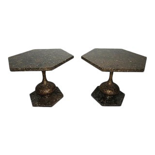 Tony Duquette Style Hollywood Regency Octagonal Brass and Marble Low End Tables - a Pair
