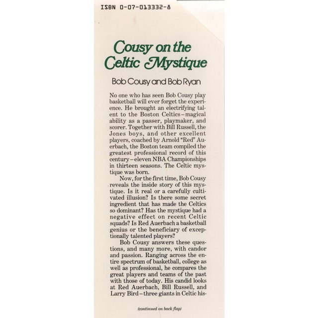 Cousy on the Celtic Mystique by Bob Cousy, Bob Ryan. New York: McGraw-Hill Book Company, Inc., 1988. First Edition....