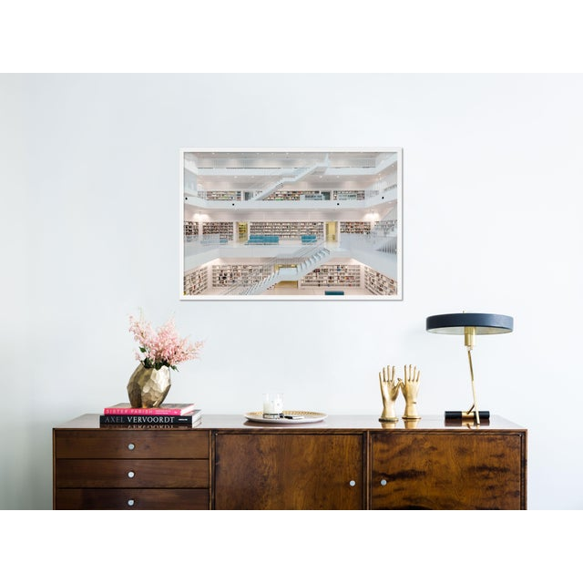 Contemporary Stuttgart Library XI by Richard Silver in White Framed Paper, Medium Art Print For Sale - Image 3 of 4