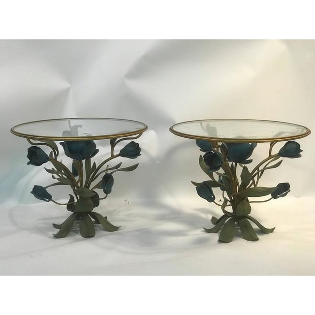A beautiful pair of Italian mixed-metal and brass side tables, or accent tables with tulip and leaf design, circa 1970....