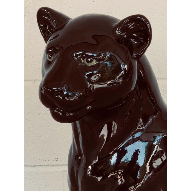 Pair of Italian Porcelain Seated Black Panthers For Sale - Image 11 of 12
