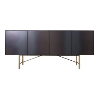 Connect Credenza Sideboard Customizable in Steel and Polished Bronze For Sale