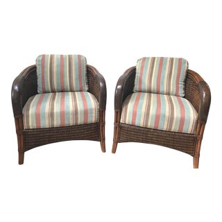 Traditional Style Palecek Woven Rattan Barrel Arm Chairs - a Pair For Sale