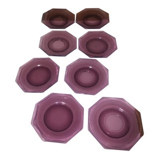 1940s Octagonal Glass Purple Plates - Set of 8 For Sale