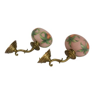 Restored Antique Pair Brass Wall Sconces With Fine Casting and Unusual Reverse Painted Shades For Sale