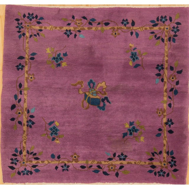 1920s 1920s Vintage Chinese Art Deco Square Rug - 3′11″ × 4′2″ For Sale - Image 5 of 5