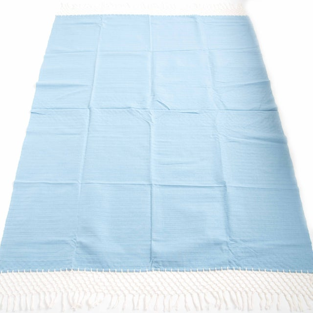 Sky Blue Cotton Tablecloth - Image 5 of 6