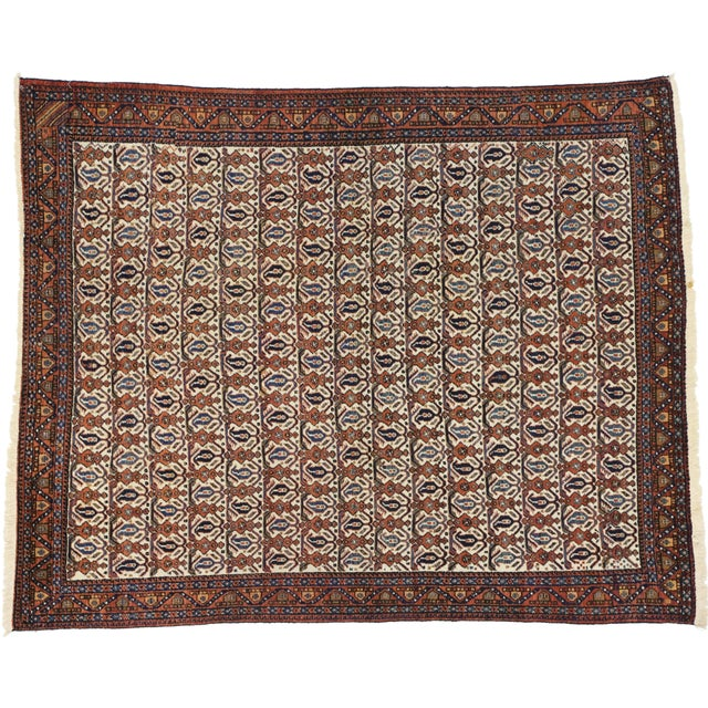 72602 Antique Persian Afshar Rug with Mid-Century Modern Style 05'01 x 06'03. Displaying balanced symmetry and a bold...