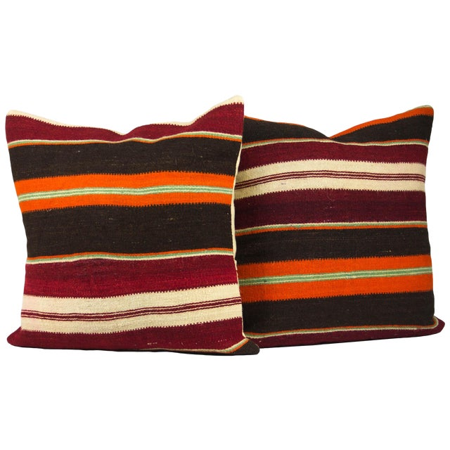 """Vibrant Striped 20"""" Overstuffed - A Pair - Image 1 of 4"""