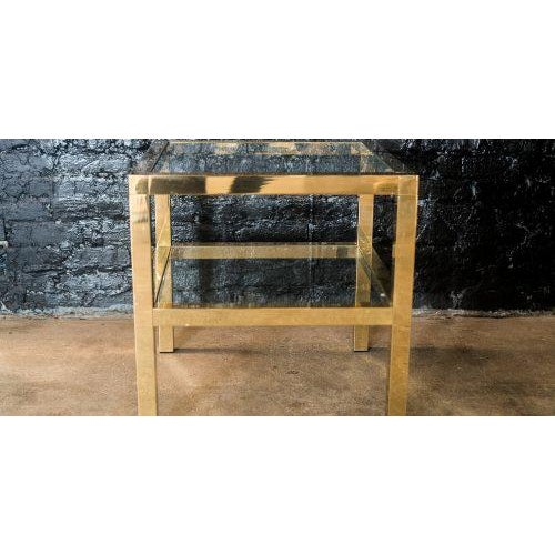 Mastercraft Two Tiered Brass Side Table For Sale In Chicago - Image 6 of 8