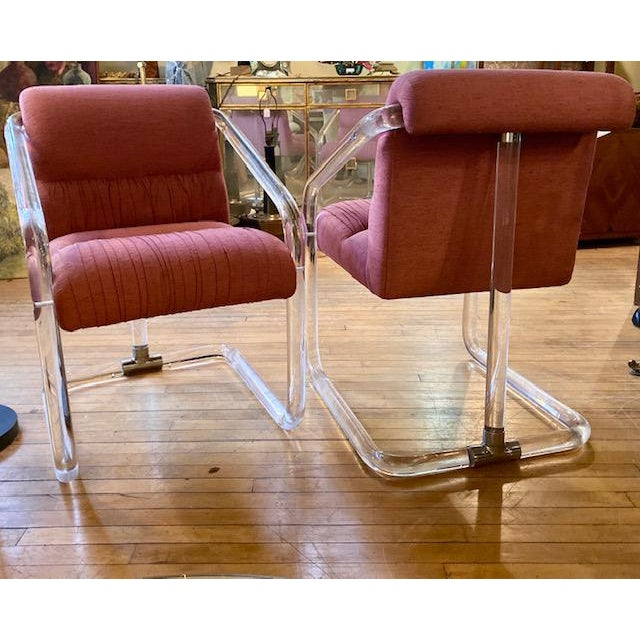 1980s 1970s Lucite Hollywood Regency Style Chairs-a Pair For Sale - Image 5 of 13