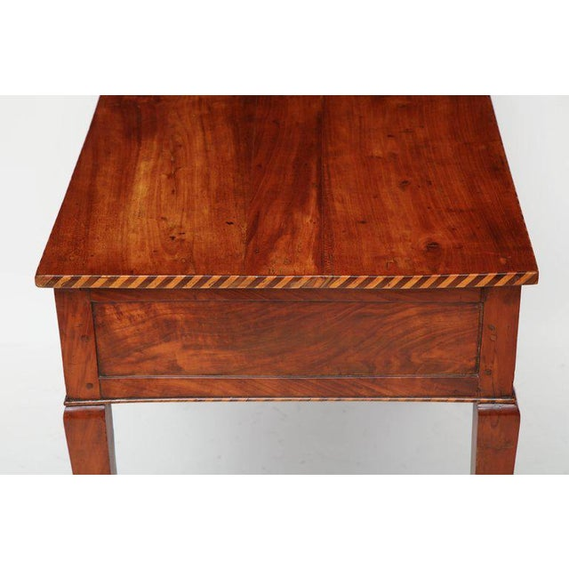 Wood 18th Century Italian Cherry Table With Parquetry Border and Two Drawers For Sale - Image 7 of 10