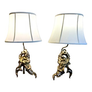 Pair 18th C. Figural Chenets Lamps For Sale