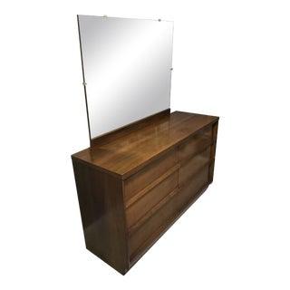 Danish Modern Lowboy Dresser With Mirror For Sale