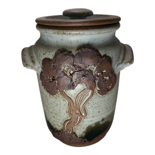 Vintage 70's Stoneware Pottery Jar For Sale