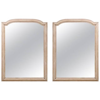 Pair of French Wood Mirrors Featuring an Arched Crest at the Top, Washed Finish For Sale