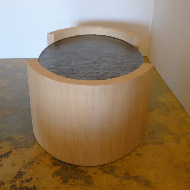 2010s Paul Marra Oval Oak and Hand Hammered Steel Cocktail Table For Sale - Image 5 of 8