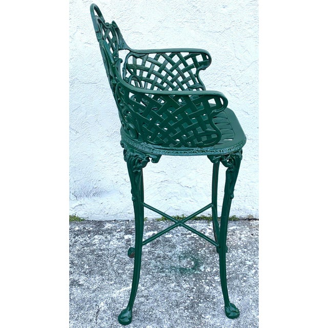 Victorian Style Garden/Patio Hightop Table and 3 Chairs, Provenance Celine Dion - Set of 4 For Sale In West Palm - Image 6 of 11