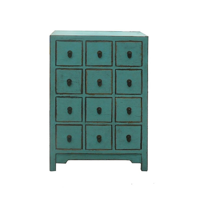 Chinese Rustic Turquoise Cabinet Side Table For Sale