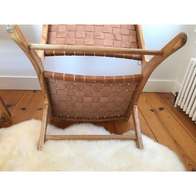 Brown Woven Leather Lounge Chair For Sale - Image 8 of 8