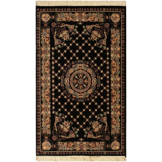 "Golden Pak-Persian Blanch Black/Brown Wool Rug - 2'7"" X 4'2"" For Sale"