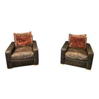 Restoration Hardware Maxwell Leather Club Chairs - A Pair