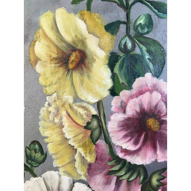 Late 20th Century Antique Floral Oil Painting For Sale - Image 5 of 11