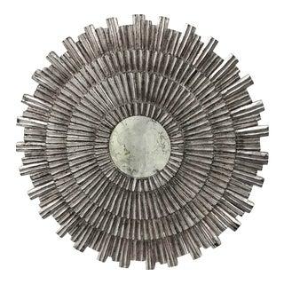 """23.75"""" Vintage Silver Leaf Sunburst Mirror For Sale"""