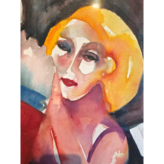 Cabaret Scene Framed Watercolor Paintings by Sandra Jones Campbell - Set of 2 For Sale In Los Angeles - Image 6 of 8