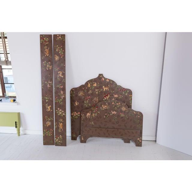 Folk Art Folk Art Custom-Painted Twin Beds - a Pair For Sale - Image 3 of 13