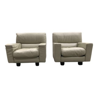 Italian Leather Lounge Chairs - A Pair For Sale