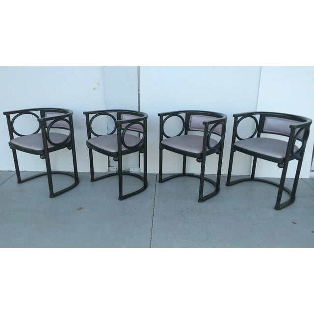 Vintage Joseph Hoffmann Style Wrap-Around Armchairs - Set of 4 For Sale - Image 12 of 12