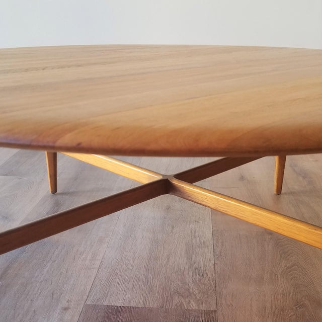 Brown Mid-Century Modern Round Maple Coffee Table For Sale - Image 8 of 11