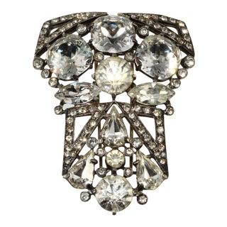 Eisenberg Art Deco Clear Rhinestone Pin or Fur Clip Brooch Vintage For Sale