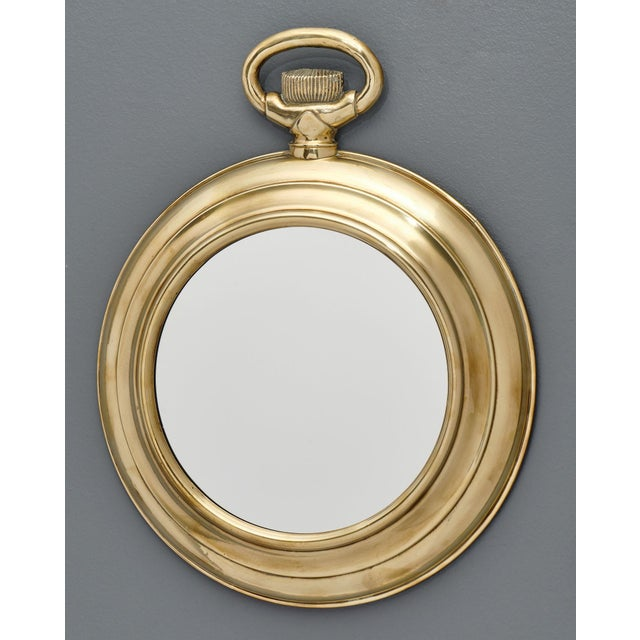 Vintage Brass Pocket Watch Mirror For Sale - Image 4 of 10