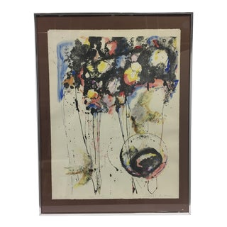 """Mid 20th Century """"Early Birds"""" Abstract Expressionist Print, Framed For Sale"""