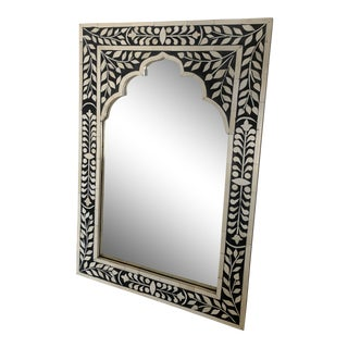 Moroccan Moorish Style Black and White Mirror For Sale