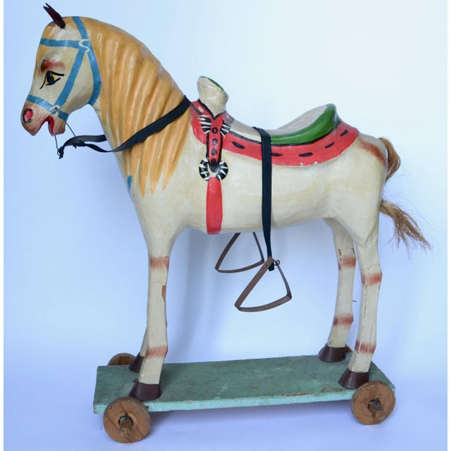 "Paper 1950-60s Mexican Folk Art Paper Mache Wood Pull Horse 27""h For Sale - Image 7 of 7"