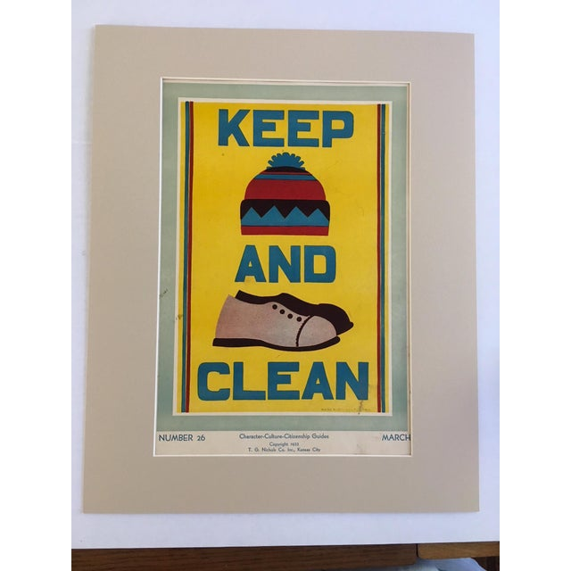 "Vintage 1930's ""Keep (Hat) and (Shoes) Clean Classroom Poster - Image 3 of 3"