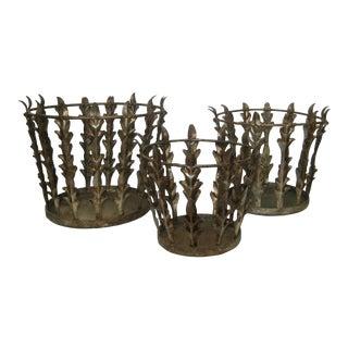 Vintage Italian Nest of 3 Acanthus Leaf Baskets - Set of 3 For Sale