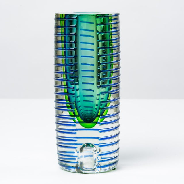 Glass 1980s Postmodern Glass Vase or Candlestick For Sale - Image 7 of 13