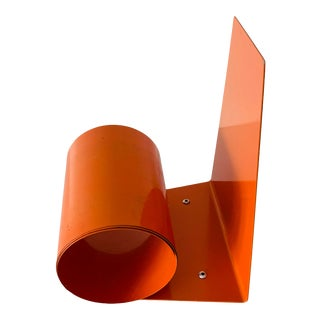 Art Deco Modernist Orange Metal Bookend For Sale