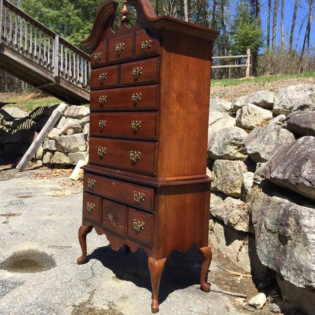 Queen Anne Style Cherry Highboy Dresser Image 4 Of 8
