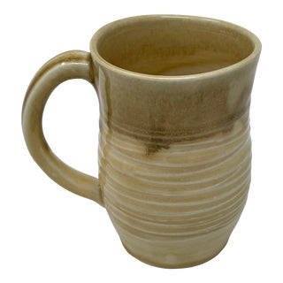 Hand Made Butterscotch Color Ceramic Coffee Mug With Handle For Sale