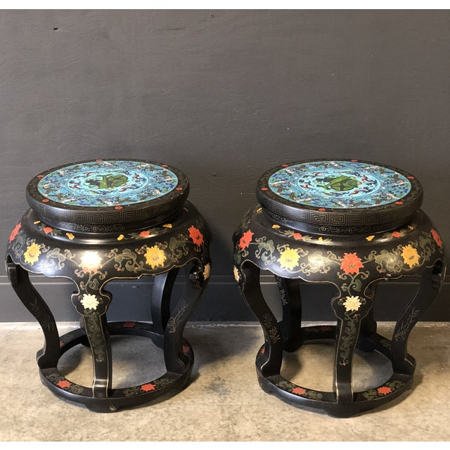 Blue 1920's Chinese Round Black Lacquered Side Tables With Blue Cloisonné Tops For Sale - Image 8 of 10