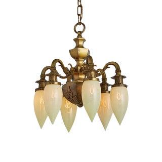 Beaux Arts 6-light Chandelier W/ Straw Opalescent Stalactites Circa 1910s