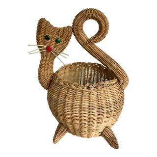 Figurative Woven Wicker Cat Basket For Sale