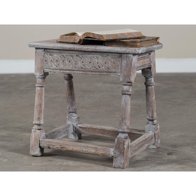 Antique English Limed Oak Joint Stool circa 1890 For Sale - Image 9 of 11