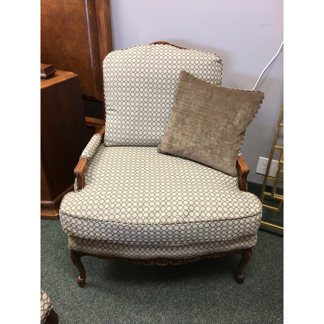 French Country Baker Upholstered Chair & Ottoman - Image 6 of 10